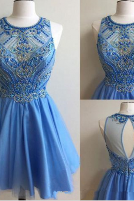 Hot Sales Sky Blue Homecoming Dresses Keyhole Back Draped A Line Graduation Dresses Short Formal Prom Party Gowns With Beading