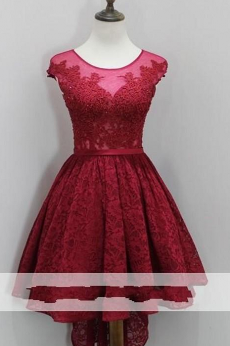 Vintage Full Lace Crystal Designer Homecoming Dresses Pink Sheer Jewel Neck Girls Homecoming Gowns For