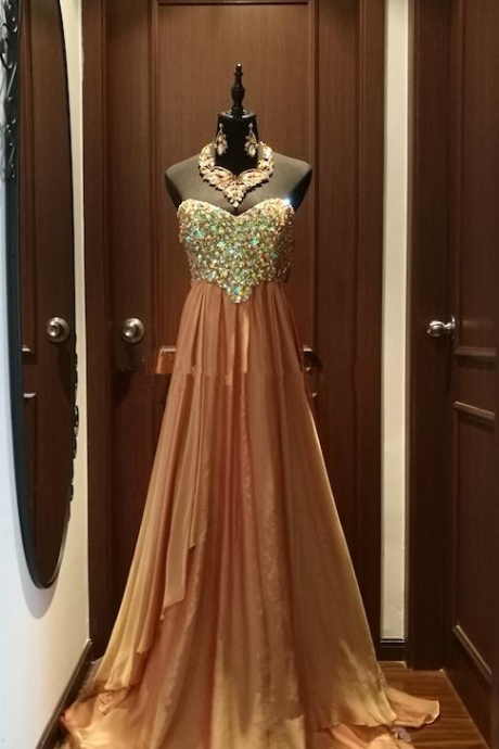 Fall New Designer Gold Off Shoulder Aline Chiffon Long Special Occasion Dress, Evening Dress, Prom Dress With Diamonds and Beads