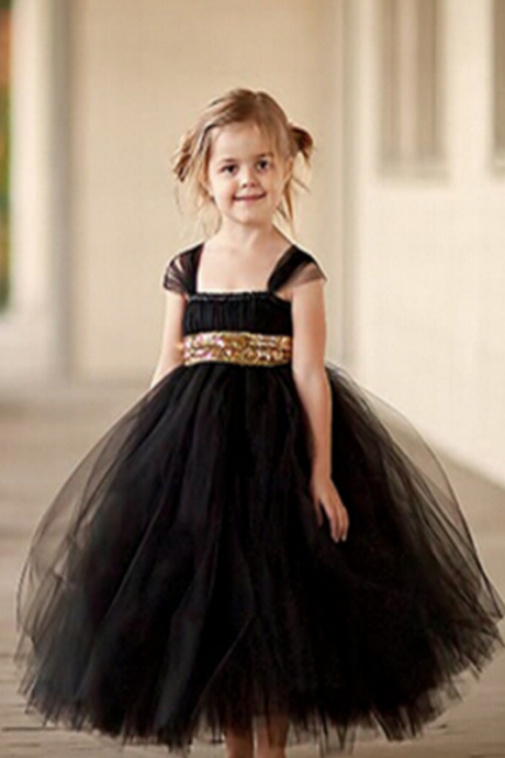 Black Tulle Girl Birthday Wedding Party Formal Flower Girls Dress baby Pageant dresses