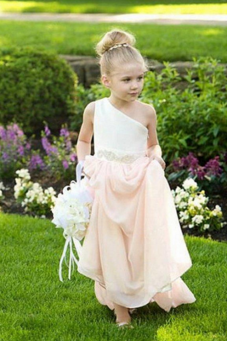 One Shoulder Chiffon Floor Length Flower Girl Dresses Children Birthday Dress Kids Wedding Party Dresses