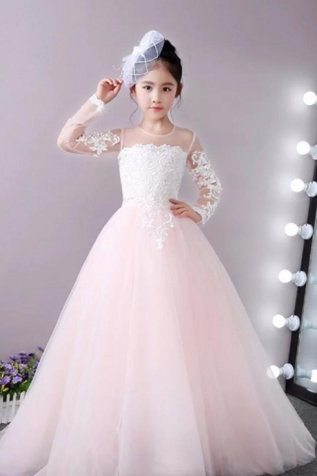 Elegant O-neck Neck Long Sleeve Flower Girl Dresses White Button Back Appliques Girls Pageant Dresses Kids Birthday Party Dresses