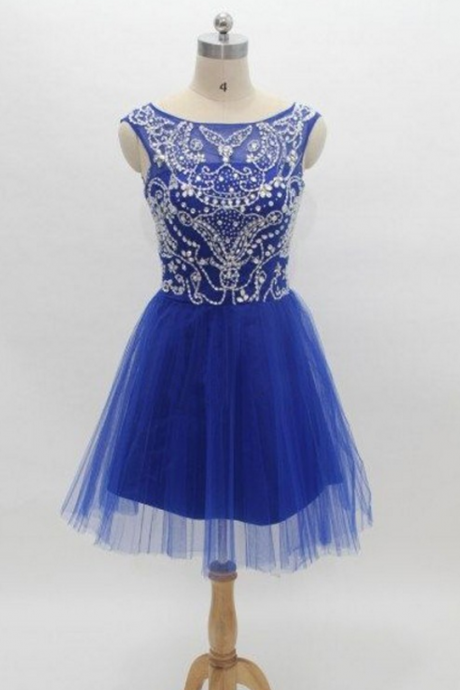 A Line Blue Homecoming Dresses Zippers Sleeveless Beaded Bateau Above Knee Homecoming Dress