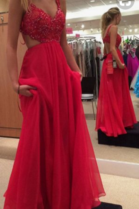 Red Prom Gown,Chiffon Backless Prom Dress,Red Long Formal Gown ,Sleeveless Prom Gowns,Sexy Prom Dress,A-line Chiffon Prom Dress With Beaded