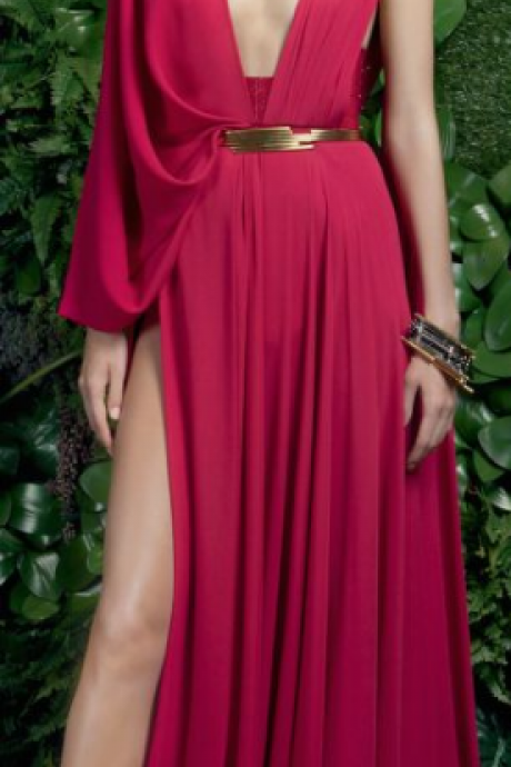 May red chiffon ball gown, v-neck sleeveless, evening dress.