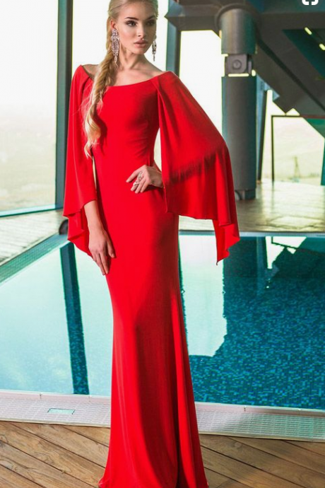 Red chiffon ball gown, long sleeve evening dress.