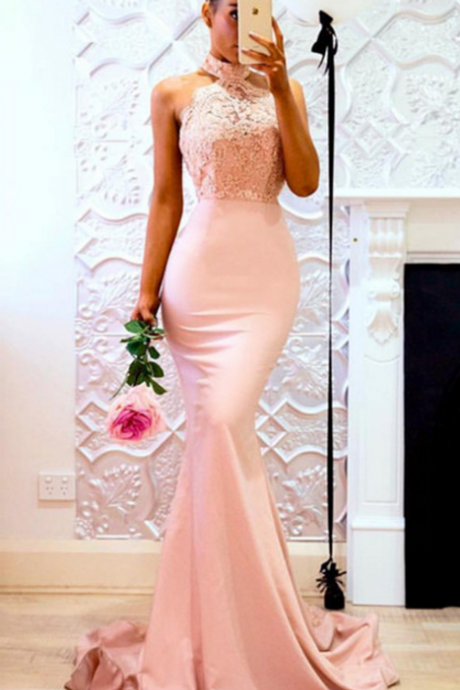Sexy Sleeveless Pink Mermaid Evening Dress, Appliques Lace Long Prom Dresses
