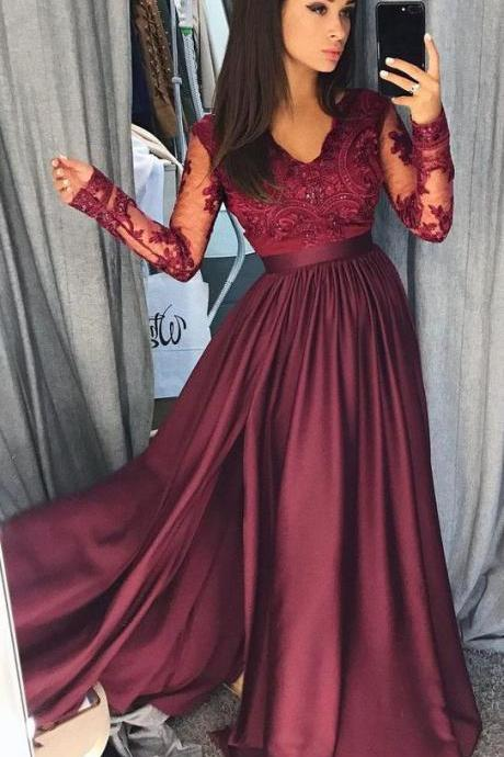 Burgundy Long Sleeves V Neck Lace Top A Line Long Prom Dresses