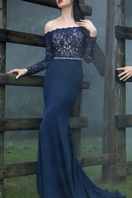 Elegant Dark Navy Mermaid Evening Dresses Off Shoulder Long Sleeves Lace Prom Dress Custom Made Special Occasion Dress Mother Dress