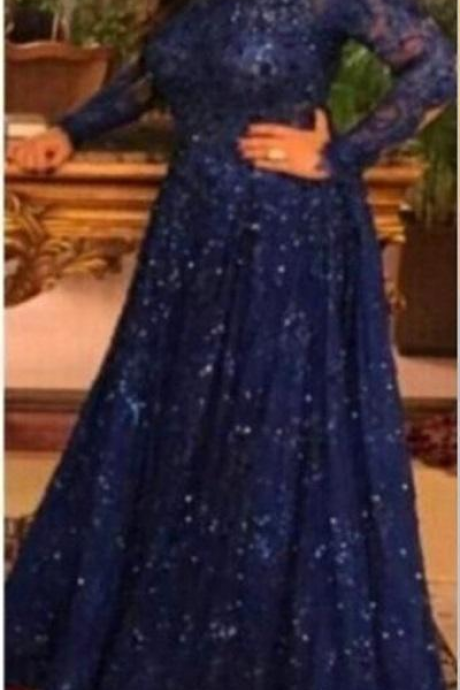 New Arabic Long Sleeve Lace Muslim Evening Dresses Capped Off the Shoulder Prom Dress Royal Blue Custom Formal Evening Gowns Plus Size
