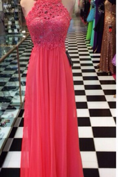 Coral,New Fashion Prom Gowns,Elegant Prom Dress,Lace Prom Dresses,Chiffon Evening Gowns,Simple Formal Dress For Teen