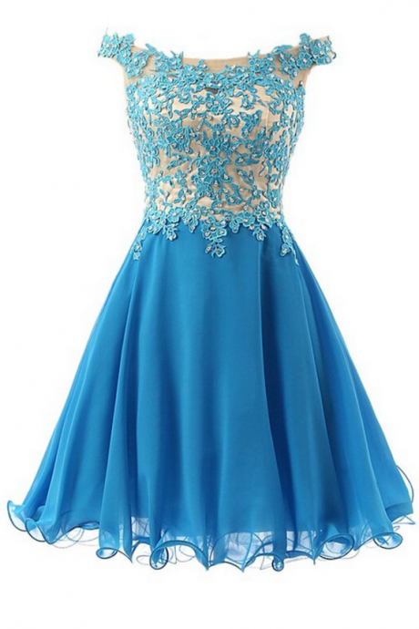 with this beautiful floral lace appliqués off-the-shoulder short chiffon, homecoming dress