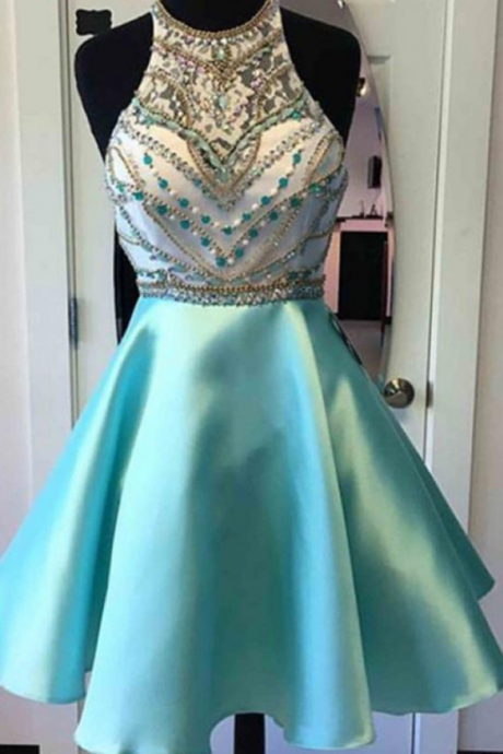 Halter Knee Length Homecoming Dresses Graduation Dresses with Beading