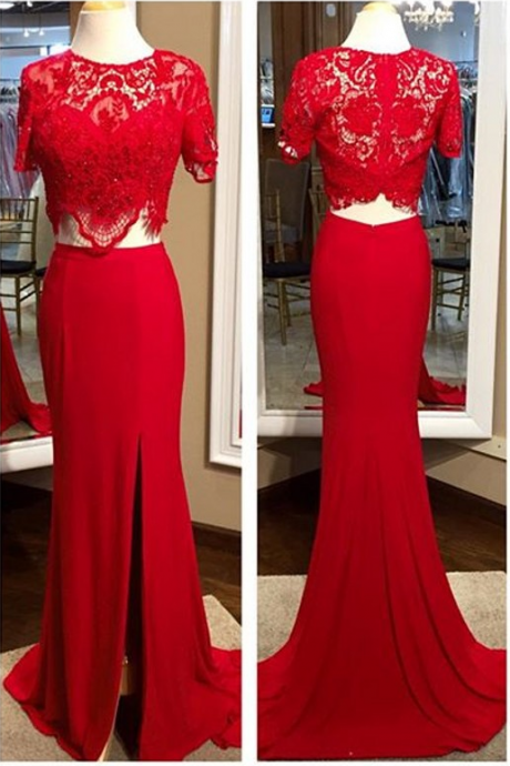 Red Prom Dresses,Lace Top Prom Dress,Long Evening Dress,Sexy Red Prom Dresses