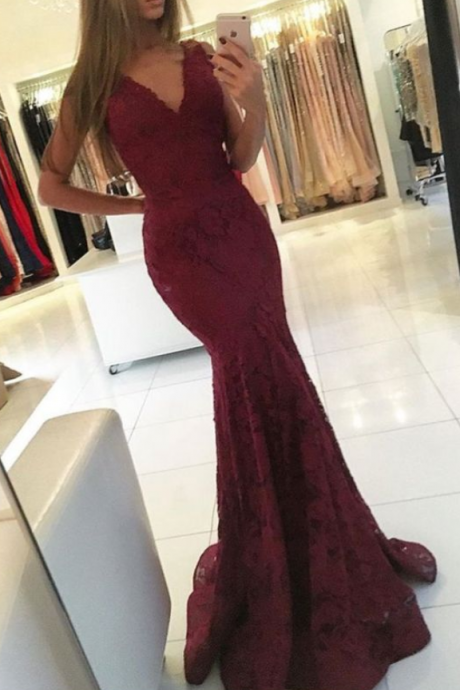 Lace , V Neck , Mermaid Evening Dress, Cheap Evening Dress, Elegant Evening Dress,