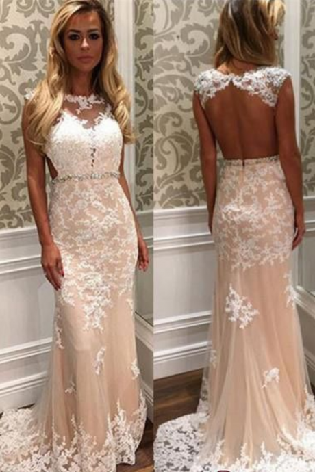 Mermaid Champagne Evening Dress, Backless , Sexy Evening Dress, Lace Applique Evening Dress, Elegant Evening Dress, Cheap Evening Dresses