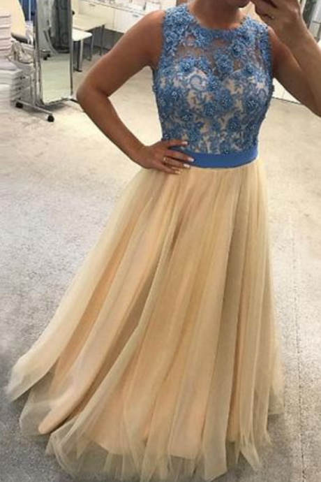 round neck blue lace top, A-line long tulle formal prom dress, evening dresses
