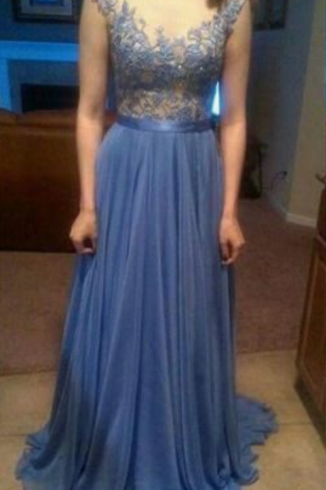 Lace Blue Prom Dress,Modest Prom Gown,A Line Prom Gown,Lace Evening Dress,Cap Sleeves Evening Gowns,