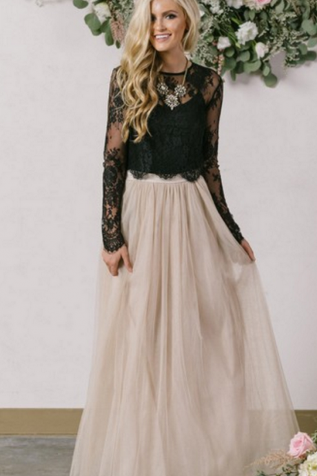 A-line Scoop Neck Tulle Ankle-length Appliques Lace Long Sleeve Two Piece Prom Dresses