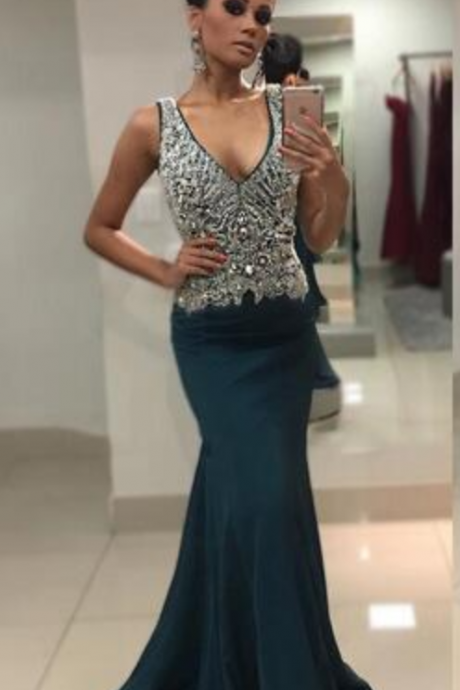 Mermaid Evening Dress , Beaded Crystals Long Backless Formal Holiday Celebrity Wear, Prom Party Gown Custom Made Plus Size