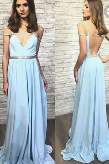 Stylish blue v neck backless long prom dress, blue evening dress,