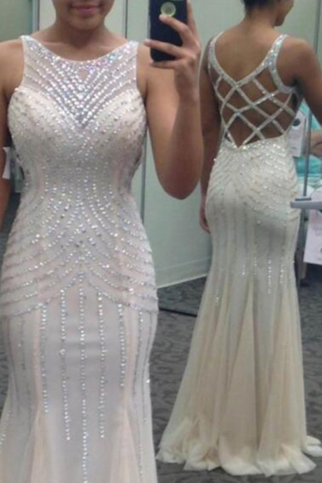 Sheath Sequin Beads Cross Straps White Prom Dress, Evening Party Dress,Custom Made Prom Dress