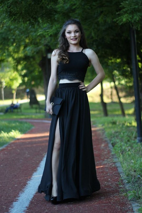Charming Prom Dress, Long Evening Dress, Black Two Piece Prom Gowns