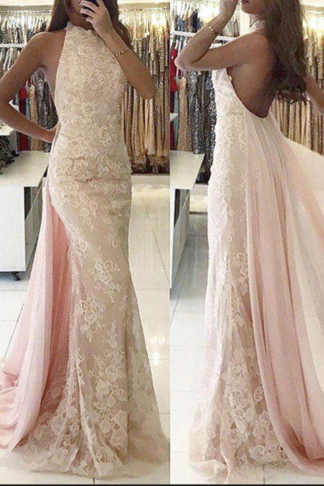 Pink Prom Dresses with Lace Appliques, Crew Neckline Evening Dresses, Backless Prom Dresses, Vintage Evening Dresses, Sexy Party Dresses,