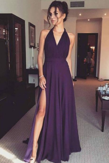prom dresses,long prom dresses,fashion prom dresses,v-neck prom dresses,simple prom dresses