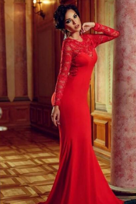 Red Evening Dresses, Sexy Evening Dresses, Long Sleeve Evening Dresses, Mermaid Evening Dresses, Formal Dress, New Arrival Evening Dresses