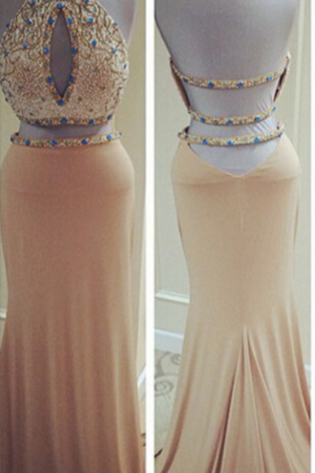 Two Piece Fitted Kiss Formal Mermaid Sexy Backless Prom Dresses Halter