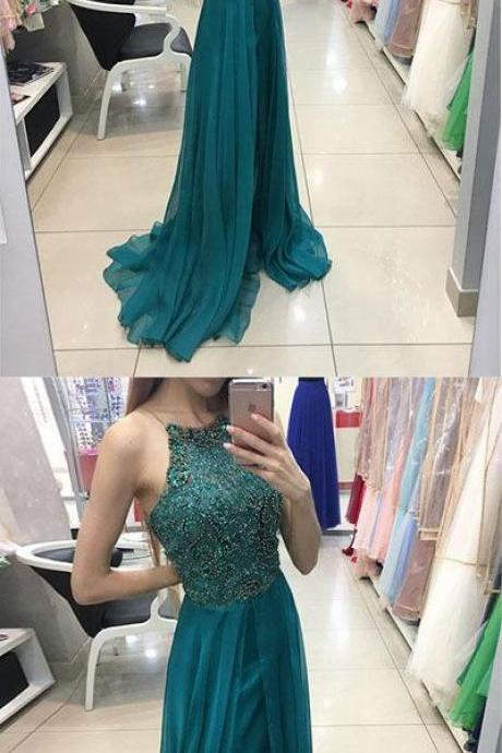 halter green long chiffon A-Line prom evening dress