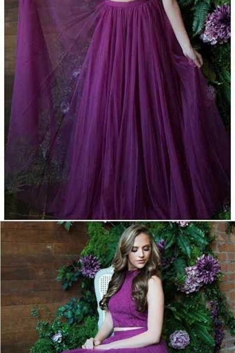 Tulle Prom Dress, Simple Evening Dress, High Neck Prom Dress, Two Piece Prom Dress, Purple Prom Gown, Long Prom Dress