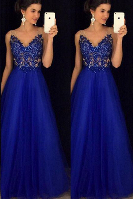 Beaded Royal Blue Prom Dress, Tulle Prom Dresses, Long Evening Dress