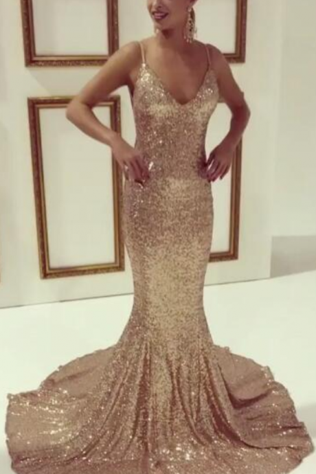 New Arrival Prom Dress,Modest Prom Dress,Sexy Charming Mermaid Prom Dress,Gold Sequins Prom Dress, Spaghetti Strap Evening Dress,V neck Party Gowns,Backless Prom Gowns