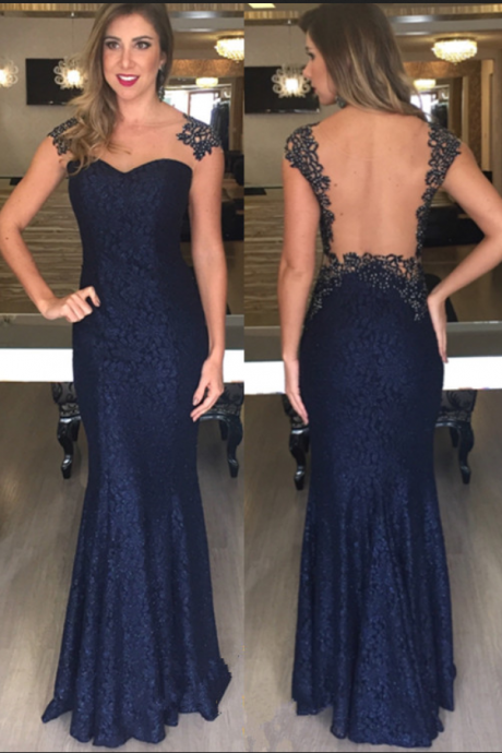 Prom Dresses,Open-Back Sexy Beading Mermaid Long Dark-Navy Evening Dresses