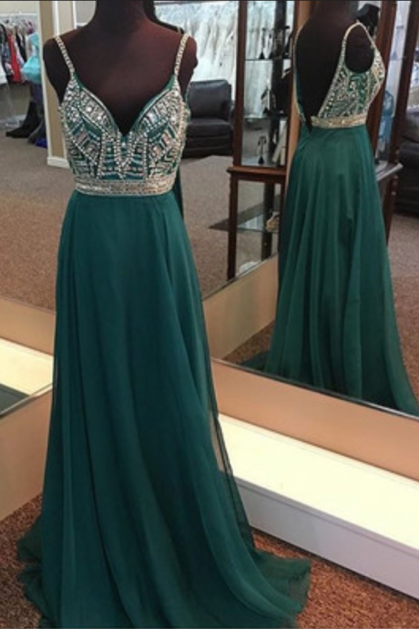 A-Line Spaghetti Straps V Back Long Prom Dress With Beading