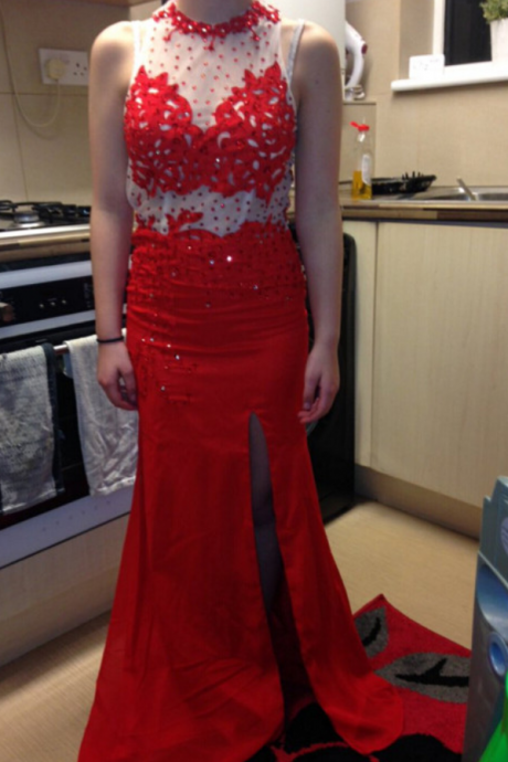 Long Red Prom Dress Evening Party Dresses With Slit