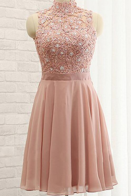 Chiffon Homecoming Dress,High Neck Prom Dresses,Sleeveless Homecoming Dress,Stylish Homecoming Dresses,A-Line Homecoming Dress