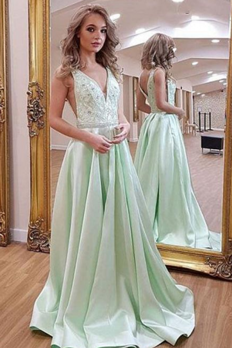 Charming Prom Dress, Sexy Green A Line Prom Dresses, Long Evening Dress, Party Gown
