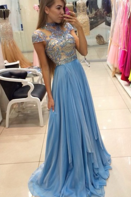 Charming Prom Dress,High-Neck Prom Dress,A-Line Prom Dress,Chiffon Prom Dress,Beading Evening Dress