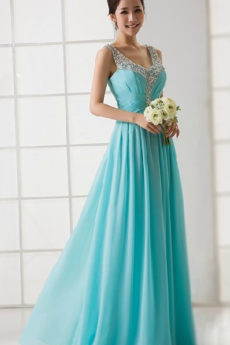 Elegant Turquoise V-neck See Through Back Beaded Evening Dress Formal Prom Party Dress Long Chiffon Dresses
