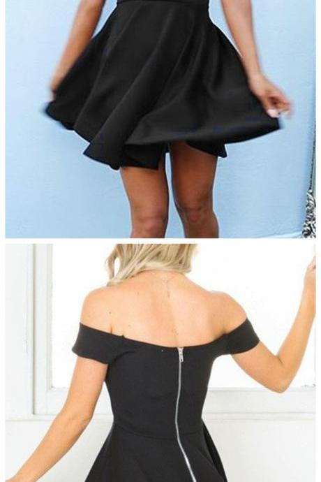 Homecoming dresses ,Sexy A-Line Off-The-Shoulder Backless Black Satin Short Homecoming Dress