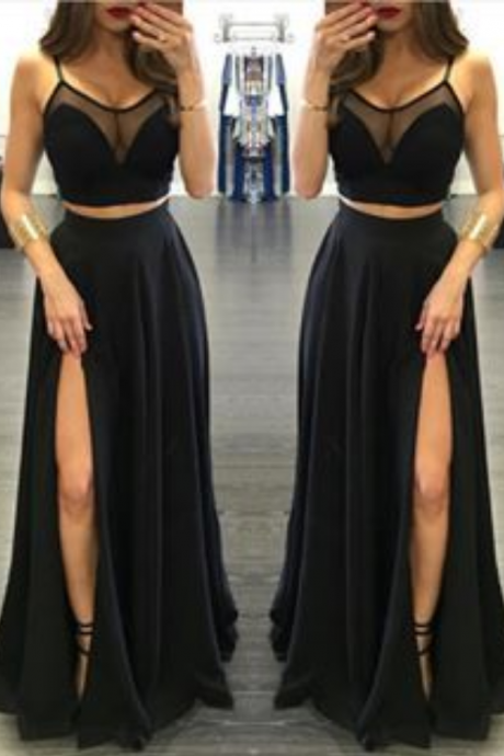 Honey Qiao 2 Piece Prom Gown,Two Piece Prom Dresses,Black Evening Gowns,2 Pieces Party Dresses,Black Evening Gowns,Formal Dress For Teens