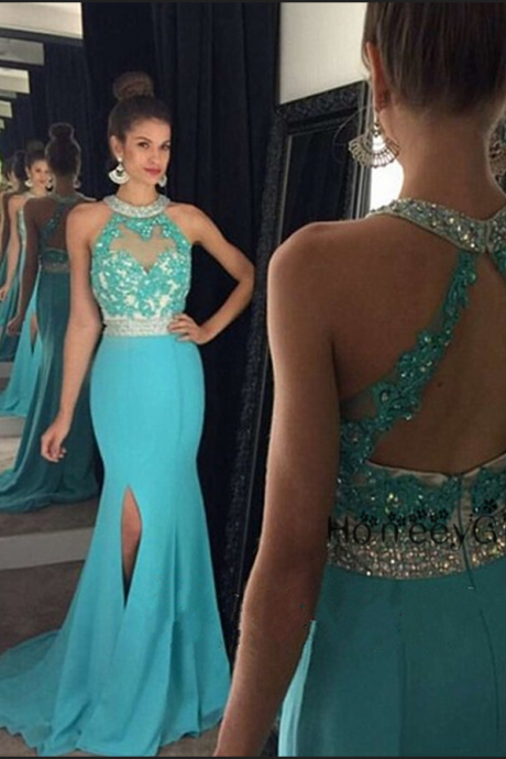 Halter Prom Dress,Mermaid Prom Dresses,Blue Prom Dresses,Sexy Prom Dresses,Sparkle Prom Dresses