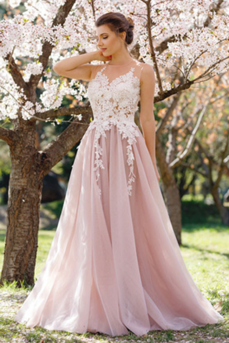 Custom Made Pink Sleeveless Illusion Neckline Floor Length Tulle Bridesmaid Dress with Lace Applique, Prom Dress