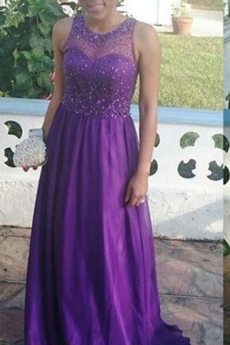 Custom Made Charming Prom Dresses,Chiffon Prom Dresses,Charming purple Beading Prom Dress,O-Neck Prom Dress,Beauty Evening Dresses