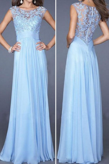 Custom Charming Blue Prom Dress,Chiffon Beading Evening Dress,cheap Sexy Backless Prom Dresses,Beading Evening Dress, Prom Dress