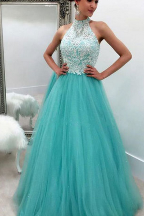 prom dresses,tulle lace long prom dress for teens, green evening dress