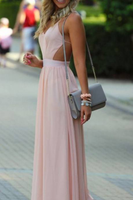 Pink Prom Dresses, Long Prom Dresses, pretty prom dresses A-line Spaghetti Straps Floor-length Chiffon Prom Dress/Evening Dress